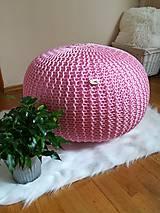 Úžitkový textil - Pletený ružový puf - 9532834_