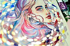 - Dáma s rybkami, akvarel výtlačok (art print) - 9532190_