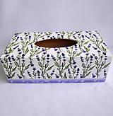 Krabičky - Krabica na vreckovky-Levanduľky - 9536902_