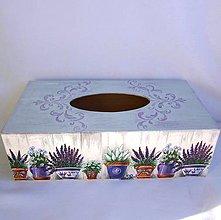Krabičky - Krabica na vreckovky-levanduľa v kvetináčoch - 9536926_