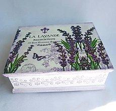 Krabičky - Drevená krabica - Lavanda - 9536951_