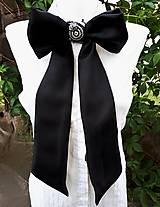 Iné doplnky - Lady black-hodvábna vyšívaná mašľa - 9535953_