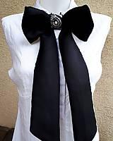 Iné doplnky - Lady black-hodvábna vyšívaná mašľa - 9535954_