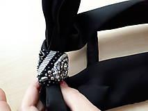 Iné doplnky - Lady black-hodvábna vyšívaná mašľa - 9535967_