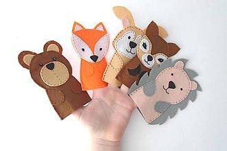 Hračky - Bábky na prsty: Lesné zvieratá - 9535677_