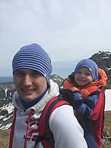 Detské čiapky - Detská celoročná merino čiapka modrý šmolko - 9536932_