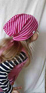Detské čiapky - Detská celoročná merino čiapka ružový šmolko - 9537091_