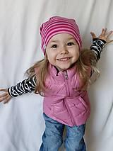 Detské čiapky - Detská celoročná merino čiapka ružový šmolko - 9537092_