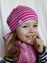 Detské čiapky - Detská celoročná merino čiapka ružový šmolko - 9537093_