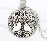 - Prívesok sklenený kabošón strom života s retiazkou - 9535925_