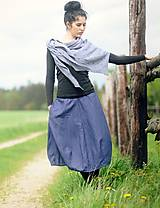 Sukne - Lněná tmavě modrá - 9535171_