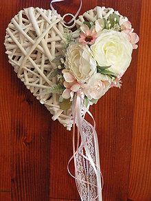 Dekorácie - Svadobné srdce marhuľka, ivory, pink s čipkou - 9535571_