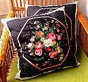 Úžitkový textil - Romantický vankúš s ružami 45 cm - 9534706_