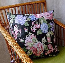 Úžitkový textil - Romantický vankúš s pivóniami a hortenziami 50 cm - 9534703_