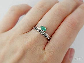 Prstene - Sada strieborných prsteňov so smaragdom - 9537820_
