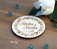 Darčeky pre svadobčanov - Svadobné magnetky kvietkový venček - 9539919_