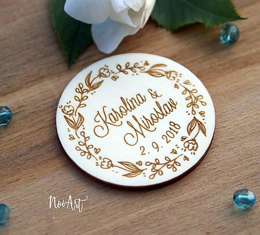 Svadobné magnetky kvietkový venček