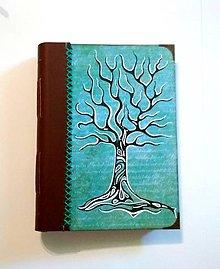 Papiernictvo - Ručne šitý diár * zápisník * sketchbook A5 Strom - 9537668_