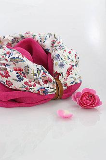 Šatky - Elegantný dámsky nákrčník z francúzskeho ľanu a kvetinovej bavlny