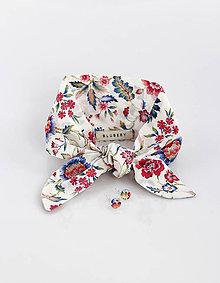 Šatky - Kvetinová dámska šatka s náušnicami