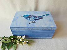 Krabičky - Drevená krabička Modropierko - 9537589_
