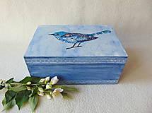 Krabičky - Drevená krabička Modropierko - 9537590_