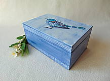 Krabičky - Drevená krabička Modropierko - 9537604_