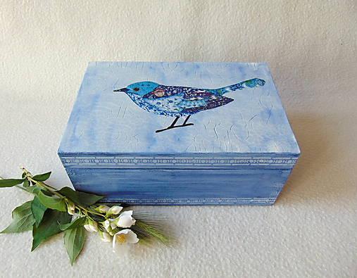 Drevená krabička Modropierko