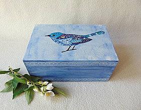 Krabičky - Drevená krabička Modropierko - 9537602_
