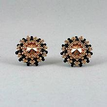 Náušnice - Čierno-ružovozlaté SW náušnice - napichovačky - 9539440_