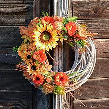 Dekorácie - Letný veniec na dvere so slnečnicou - 9538783_