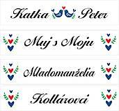 Tabuľky - Svadobná tabuľka na auto - špz 14 (folk - ľudový motív) - 9537342_