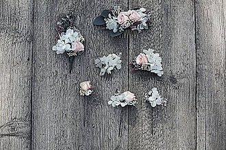 Ozdoby do vlasov - nordic - set hrebienkov z konzervovaných kvetov - 9538720_