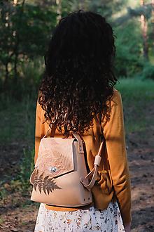 Batohy - Kožený batoh SHAPE botanic (reálna papraď) - 9540001_