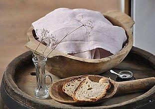 Úžitkový textil - ľanové plátno na chlieb (sivoružové) - 9537475_