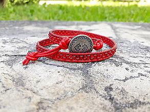 Náramky - Červený wrap náramok - 9540054_