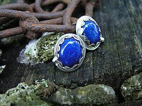 Náušnice - Strieborné náušnice Ag925 Lapis Lazuli - 9537641_