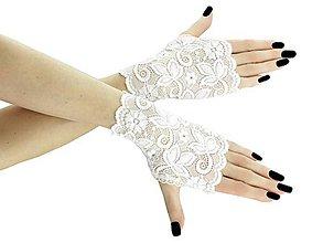 Rukavice - Dámské svadobné biele čipkové rukavice 01D (XS - Biela) - 9539966_