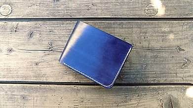 Peňaženky - Modro-bílá, kožená, ručně šitá peněženka - 9538828_