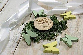 Darčeky pre svadobčanov - Drevená svadobná magnetka - 9540279_