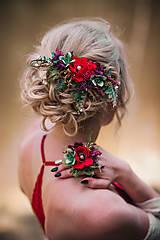 Ozdoby do vlasov - Kvetinový hrebienok s lúčnym makom - 9539239_
