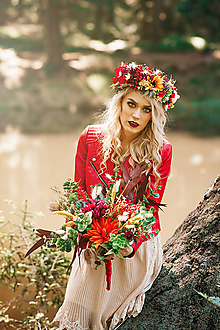 Kytice pre nevestu - Letná boho kytica s eukalypom a kaktusom - 9538694_