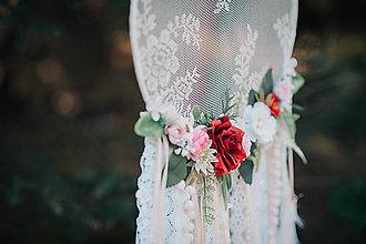 Dekorácie - Bohémsky lapač s kvetinami menší - 9539312_
