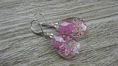 Náušnice - Živicové slzičky väčšie s ružovými kvietkami, striebro 925 č. 2113 - 9538403_