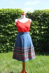 Sukne - Denimová sukňa s vyšívanou bordurou - 9538465_
