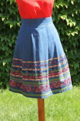 Sukne - Denimová sukňa s vyšívanou bordurou - 9538466_