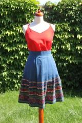 Sukne - Denimová sukňa s vyšívanou bordurou - 9538469_