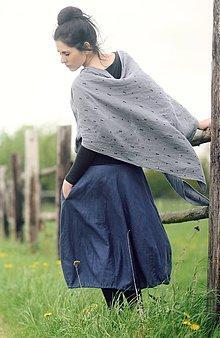 Šatky - Šedý šátek s trojúhelníčky - 9537847_