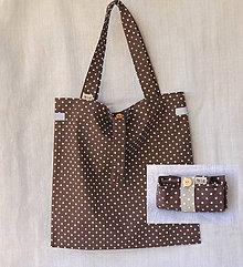 Nákupné tašky - Eko nakupovačka FILKI skladacia (čokoládová s bodkami) - 9537531_