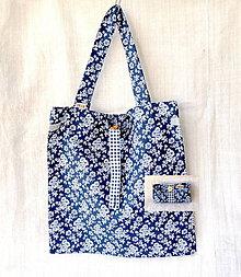 Nákupné tašky - Eko nakupovačka FILKI skladacia (modrá s ružami) - 9537540_